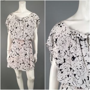 Tracy Reese Black White Floral 100% SILK Dress